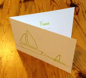 Birth card with baby boat
